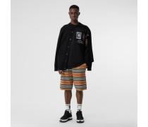 Shorts aus Merinowolle mit Streifen