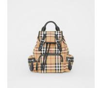 The Small Rucksack aus Vintage Check-Gewebe und Leder