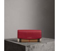 Brieftasche im Kontinentalformat aus House Check-Gewebe und Leder