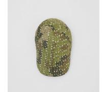Flache Kappe aus Nylon mit Monogrammmuster