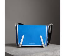 Große Messenger-Tasche in Dreitonoptik aus Nylon und Leder