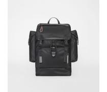 Rucksack aus Nylon und Leder mit Logodetail