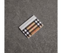 Kartenetui aus Leder und Vintage Check-Gewebe