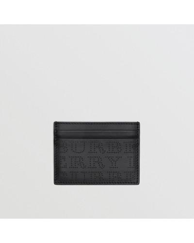 Kartenetui aus Leder mit perforiertem Logo