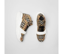 Hohe Sportschuhe mit Vintage Check-Muster