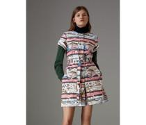 Kurzärmeliges Baumwollhemdkleid mit Küstenmotiv