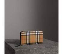 Brieftasche aus Vintage Check-Gewebe und Leder