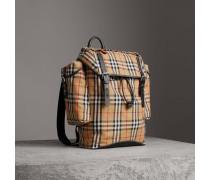 Rucksack im Ranger-Stil aus Vintage Check-Gewebe und Leder