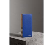 Brieftasche im Kontinentalformat aus House Check-Gewebe und genarbtem Leder