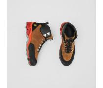 Tor-Stiefel aus Leder und Veloursleder
