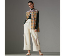 Ärmellose Bluse mit kontrastierenden Karomustern