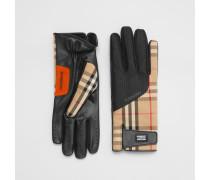 Handschuhe aus Vintage Check-Gewebe und Lammleder
