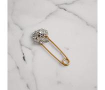 Extragroße Nadel aus Messing mit Kristallen