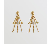Dreieckige vergoldete Chandelier-Ohrringe
