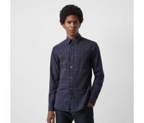 Baumwollhemd mit Ritteremblem- und Karomuster
