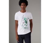 Meliertes Baumwoll-T-Shirt mit Porträtmotiv