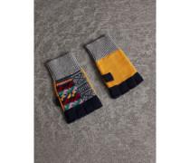 Fingerlose Handschuhe aus Kaschmir und Wolle im Patchworkdesign