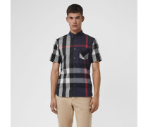 Kurzärmeliges Hemd aus einer Stretchbaumwollmischung im Karodesign