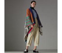 Poncho im Patchworkdesign aus Wolle und Kaschmir