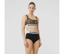 Bikini mit -Logo und Leopardenmuster