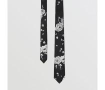 Schmale Seidenkrawatte mit Blumenmuster