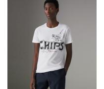 Baumwoll-T-Shirt mit Fish & Chips-Aufdruck