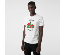 """Baumwoll-T-Shirt mit """"House Music""""-Slogan"""
