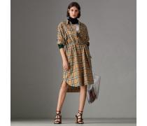 Hemdkleid mit Vintage Check-Muster und Bindegürtel