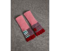 Fingerlose Handschuhe im Patchworkdesign aus Wolle und Kaschmir