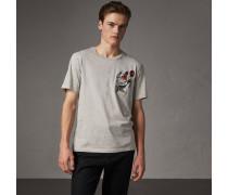 T-Shirt aus Baumwolle mit Comic-Applikation