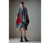 Poncho aus Wolle und Kaschmir im Patchworkdesign