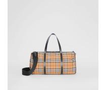 Mittelgroße Barrel Bag aus Vintage Check-Gewebe und Leder