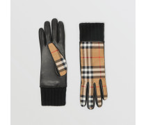 Vintage Check-Handschuhe aus Lammleder