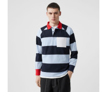 Langärmeliges Oversize-Poloshirt aus Baumwollpiqué