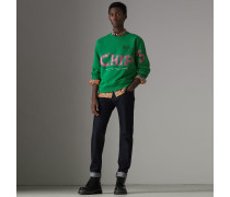 Baumwoll-Sweatshirt mit Fish & Chips-Aufdruck