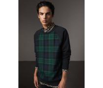 Jersey-Sweatshirt mit Schottenmuster-Panel