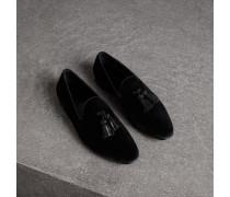 Loafer aus Samt mit Troddeln