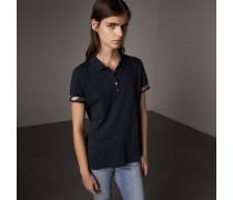 Poloshirt aus Stretchbaumwollpiqué mit Karobesatz
