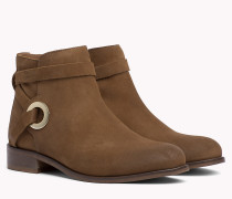 Suede Eyelet Strap Ankle Boots