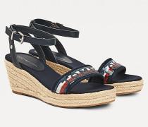 Sandale mit Pailletten-Keilabsatz