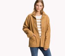 Mantel aus Baumwoll-Leinen mit aufgesetzter Tasche