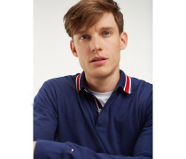 Langarm-Poloshirt mit gestreiftem Kragen