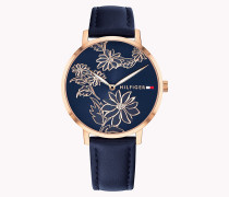 Rosévergoldete florale Armbanduhr