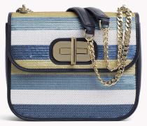 Handtasche mit Paillettenmuster und Drehverschluss