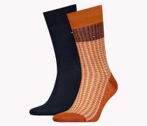 Socken mit Hahnentrittmuster im Doppelpack