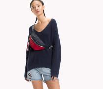 Strukturiertes Sweatshirt mit V-Ausschnitt