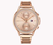 Rosévergoldete Edelstein-Armbanduhr