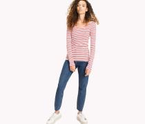Geripptes Streifen-T-Shirt aus Baumwolle