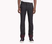 Slim Fit Jeans mit kariertem Krempelsaum