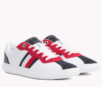 Leder-Sneaker mit Kontrastbahnen
